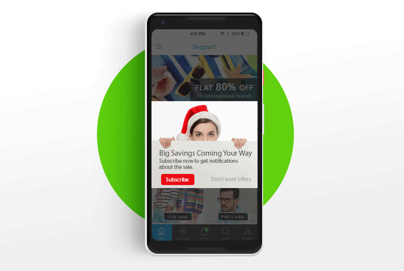 Custom Push Notification Permission Dialog E-Commerce Holiday Sale