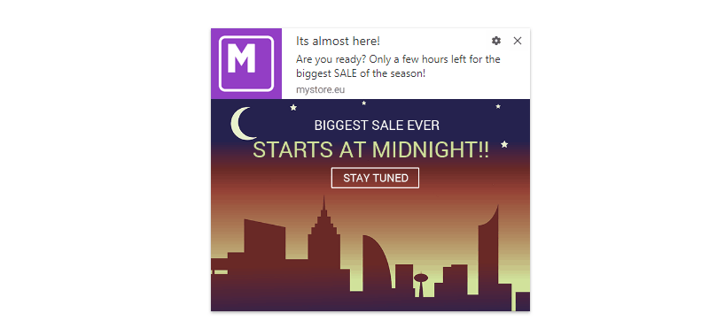 Pre-sale Reminder Push Notification Template