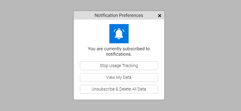 Notification preference manager as shown on a website