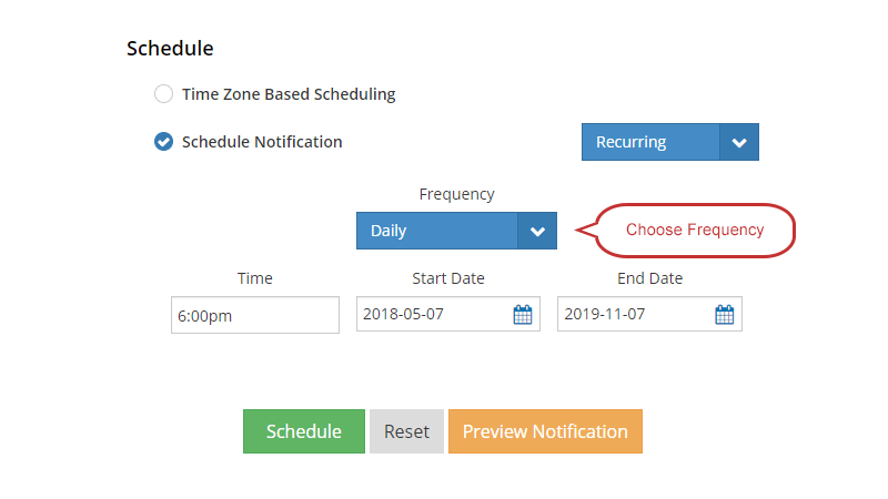 Send notifications with a recurring schedule: Daily, Weekly, Monthly or Yearly