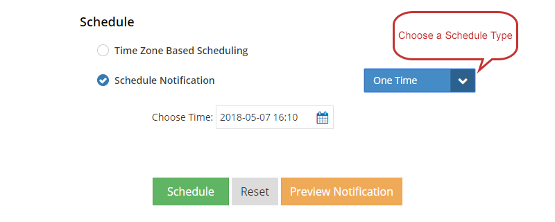 Notification set to go out once on a particular date and time.