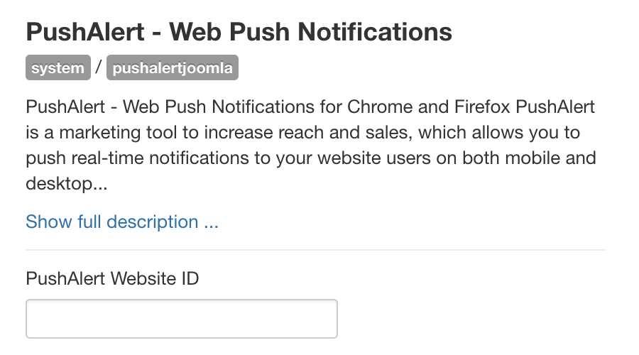 Configure PushAlert Joomla plugin