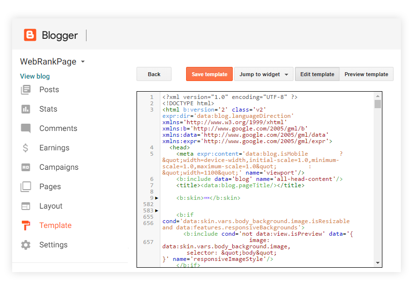 Blogger Edit HTML Template