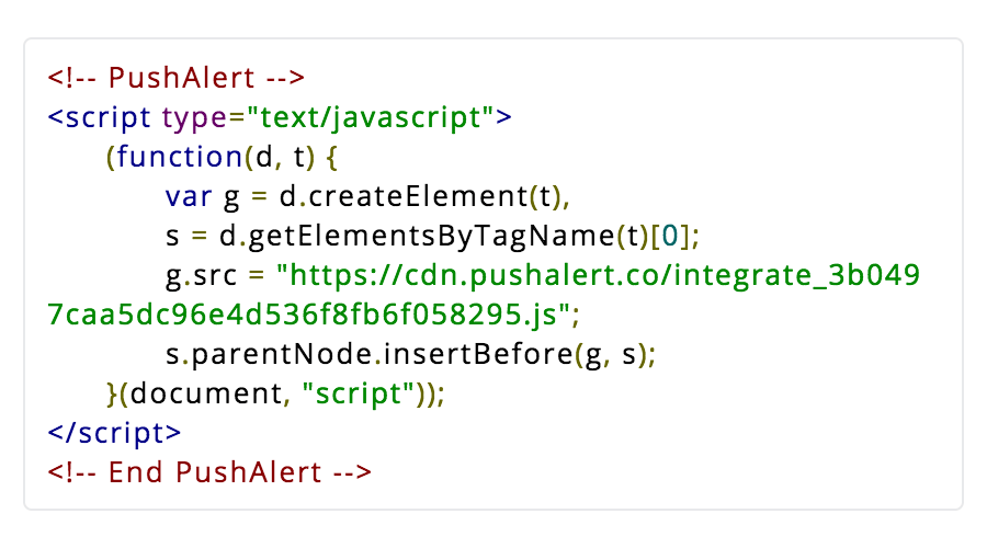 Add PushAlert js code to your website