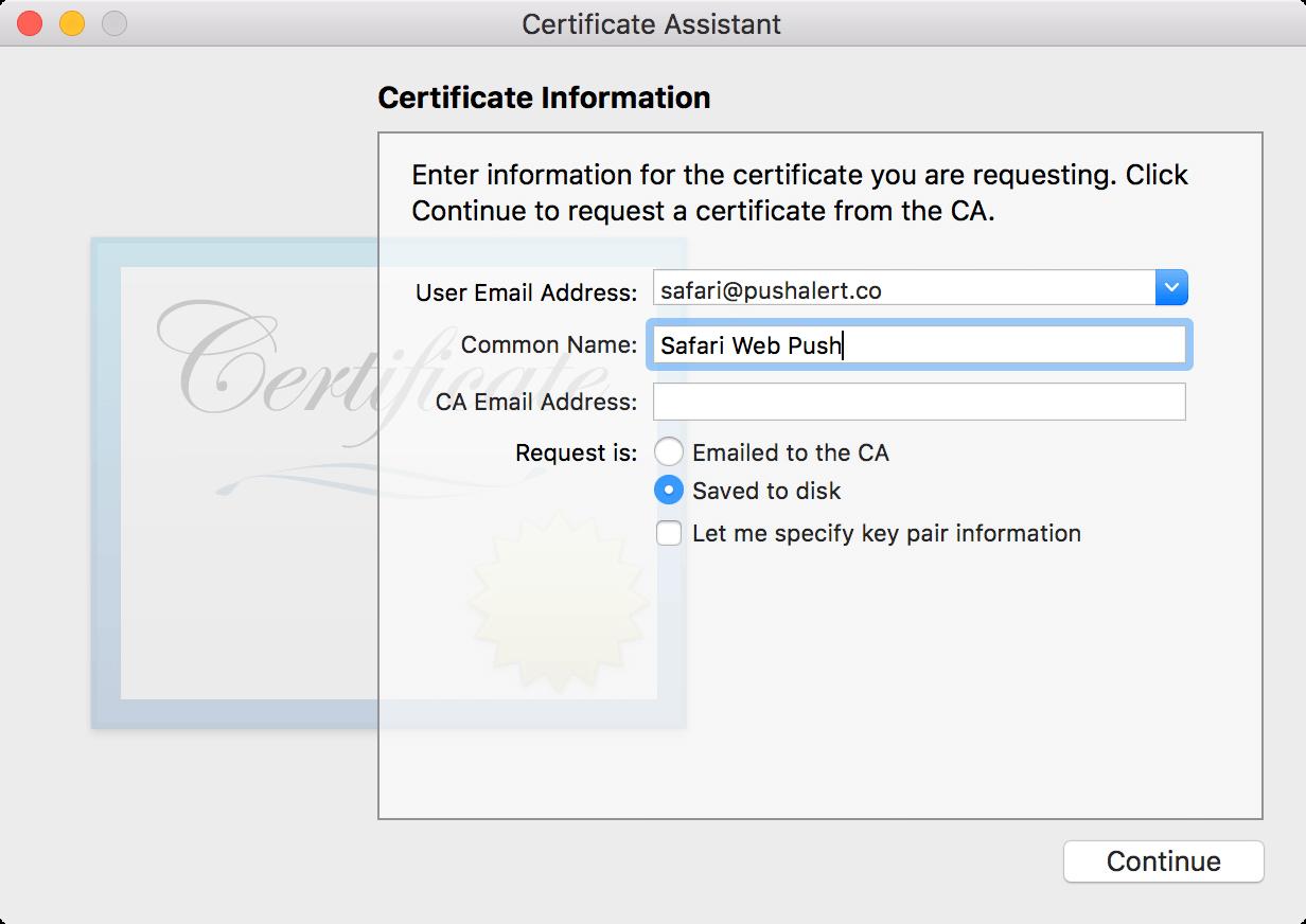 Creating Safari Web Push Certificate - PushAlert