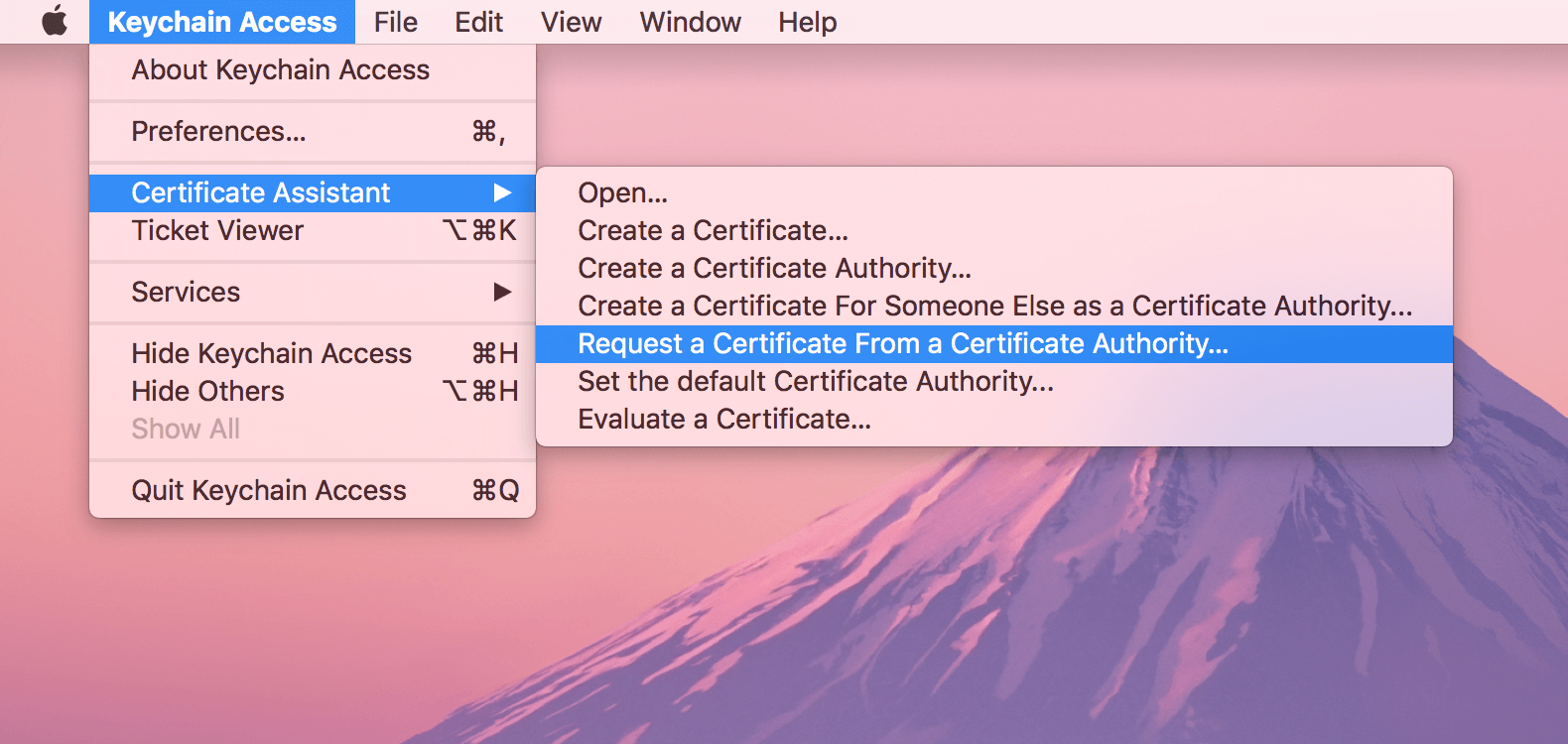 Creating safari web push certificate pushalert click on keychain access certificate assistant then request a certificate from a certificate authority 1betcityfo Images